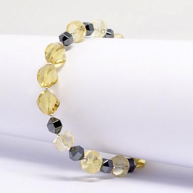 Citrine taillée et hématite, bracelet