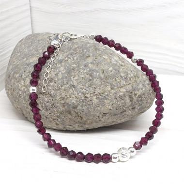 Grenat, perles facettées et argent 925, Bracelet