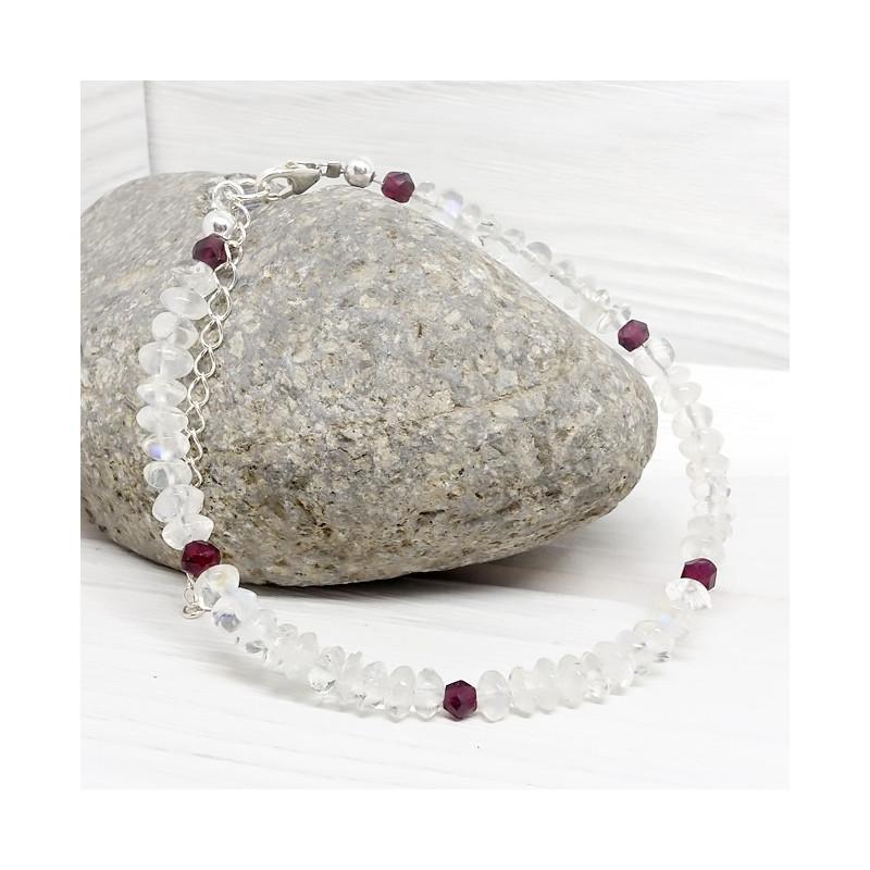 Pierre de lune rondelles et grenat facetté, Bracelet