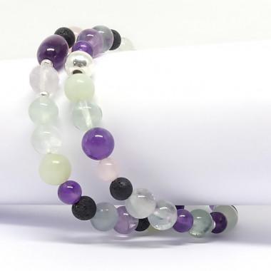 Améthyste, quartz rose, jadéite, lave, fluorite. Bracelet double rang.