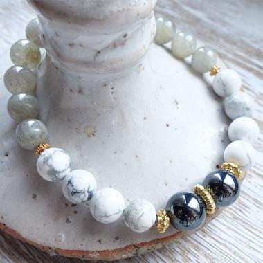 Labradorite, howlite et hématite, bracelet élastique
