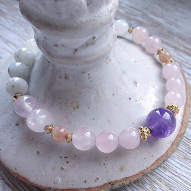 Pierre de lune, quartz rose, Pierre de soleil et amethyste, bracelet élastique