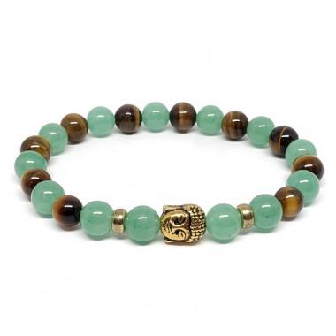 Aventurine et Oeil de tigre, bracelet élastique