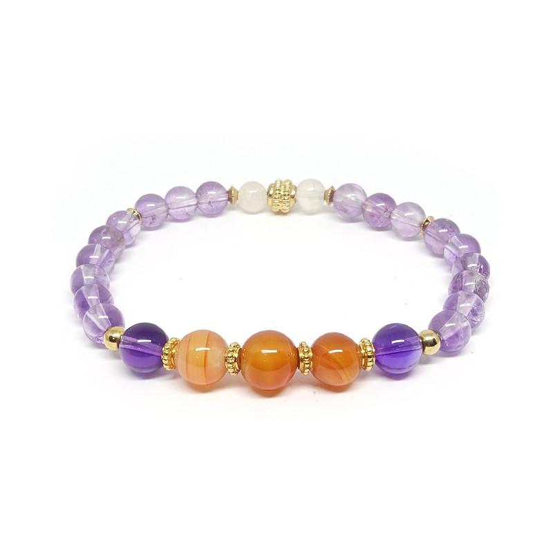 Améthyste et cornaline, bracelet élastique