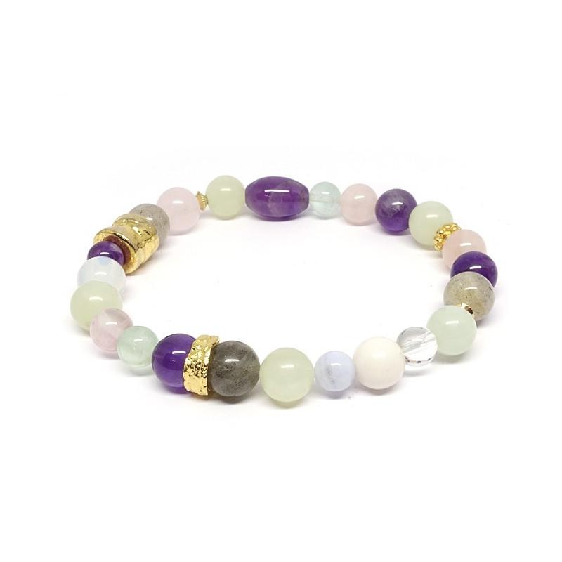Labradorite, jadéite, améthyste, quartz rose et fluorite, bracelet élastique