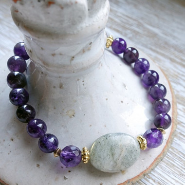 Améthyste et labradorite, bracelet élastique