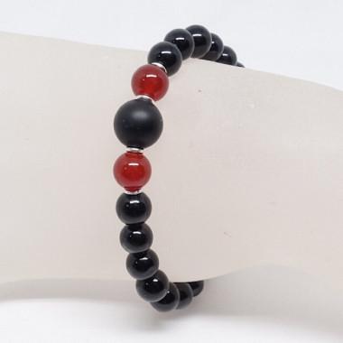 Tourmaline noire, onyx et agate rouge, bracelet homme