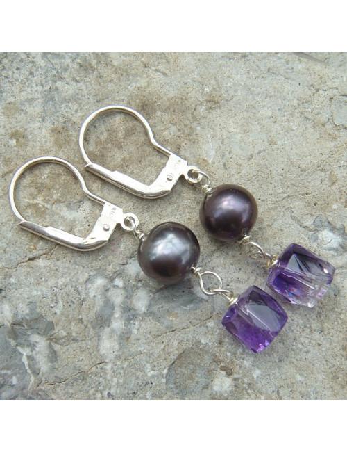 Boucles d'oreilles améthyste et perles biwa