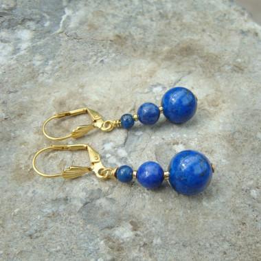 Boucles d'oreilles lapis lazuli et pl or 3µ