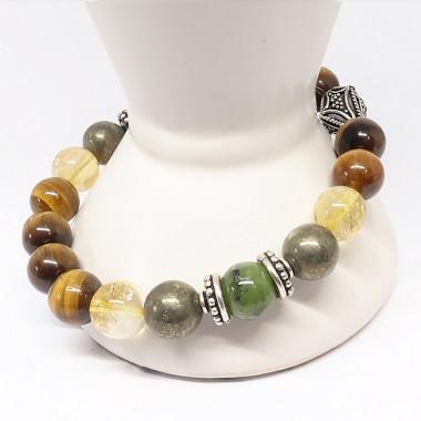 Pierre de lune, pierre de soleil et , Bracelet extensible