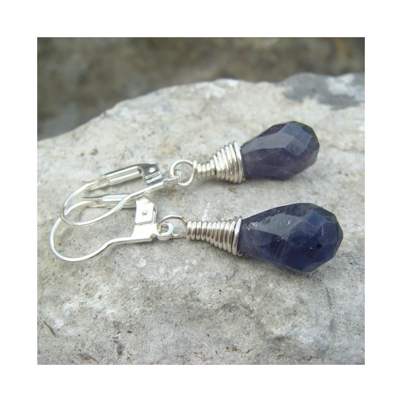 Boucles d'oreilles briolettes iolite
