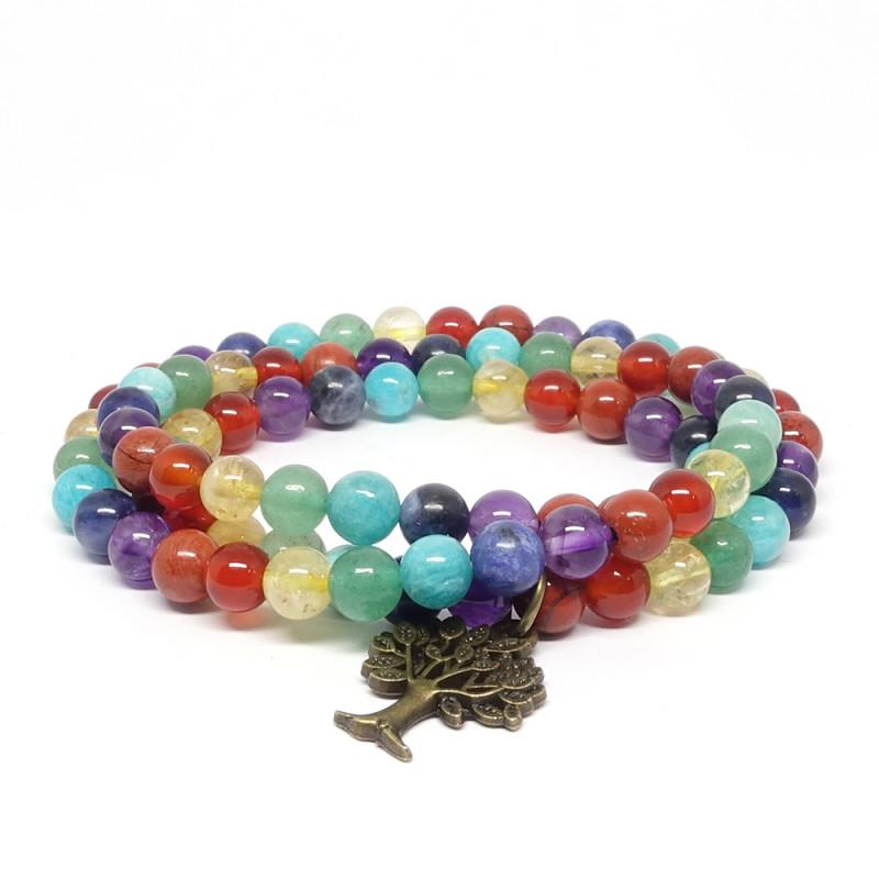 Equilibre des 7 chakras, Bracelet triple rang et arbre de vie