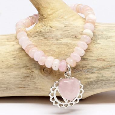 Morganite et coeur en quartz rose