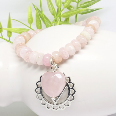 Morganite et coeur en quartz rose