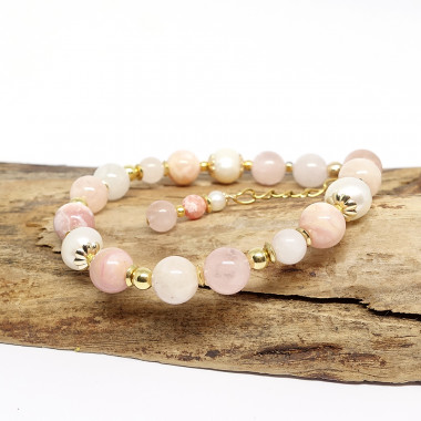 Morganite, opale rose et...