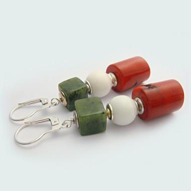 Boucles d'oreilles jade, agate blanche et corail
