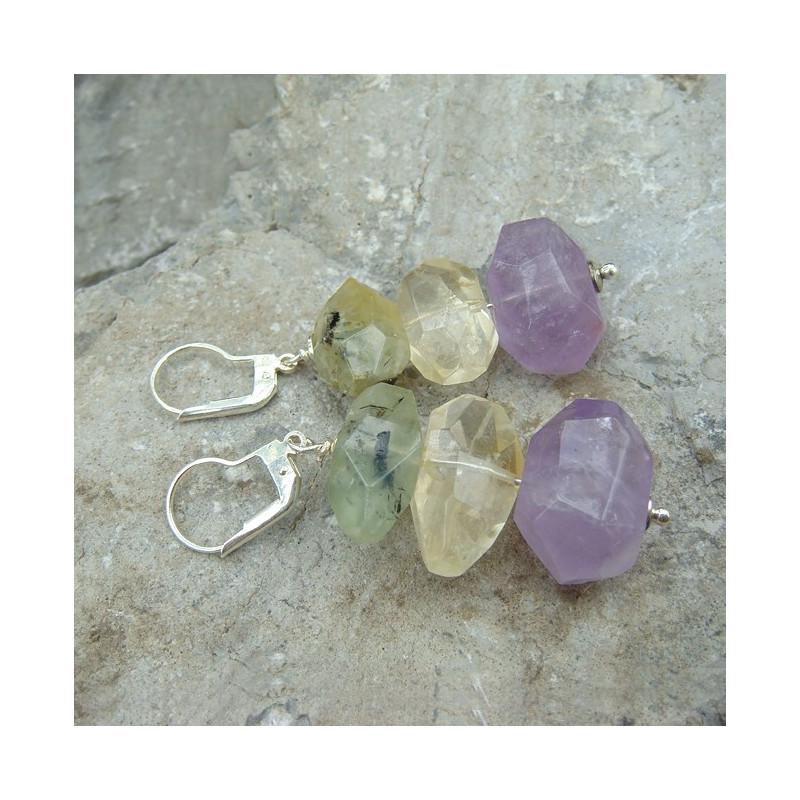Boucles d'oreilles en améthyste, citrine et prehnite cristaux