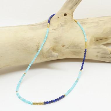 Amazonite et lapis lazuli facettées