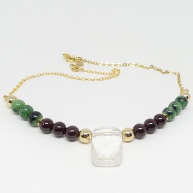 Zoïsite, grenat et cristal de roche facetté
