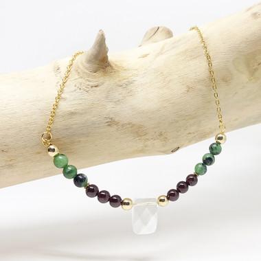 Bracelet Oeil de tigre, Oeil de taureau, Lapis lazuli et Onyx