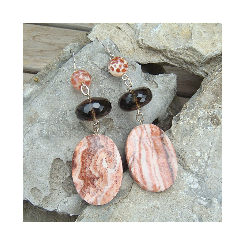Boucles d'oreilles agate de feu, quartz fumé et jaspe