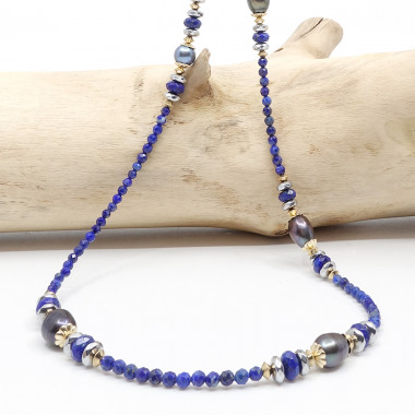 Hématite et lapis lazuli facetté
