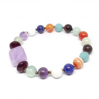 Bracelet extensible multi pierres.