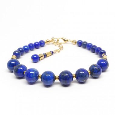 Lapis lazuli et petites perles gold filled 14k