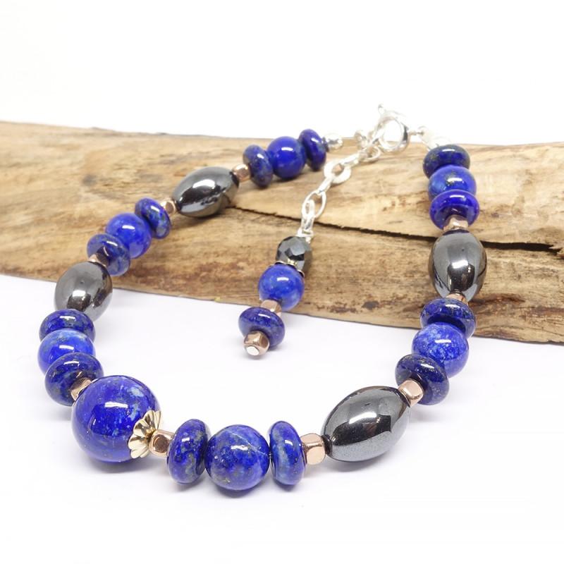 Lapis lazuli, calcedoine et aigue-marine