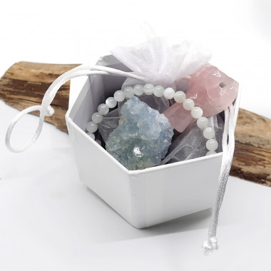 Célestite, quartz rose et pierre de lune