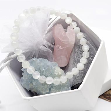 Coffret cadeau de pierres Célestite, quartz rose et pierre de lune