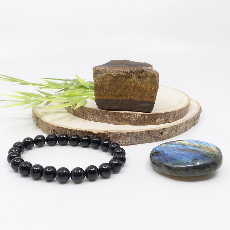 Coffret cadeau de pierres oeil de tigre, labradorite et tourmaline noire