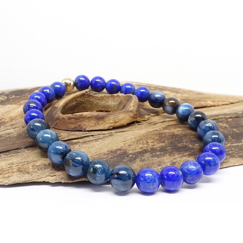 Lapis lazuli et cyanite 6 mm, Bracelet extensible