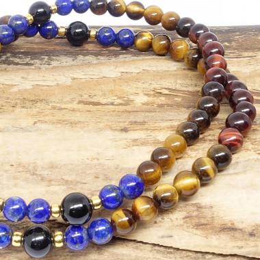 Les 3 oeils, tourmaline noire et lapis lazuli
