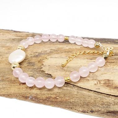 Quartz rose et perle biwa