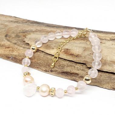 Quartz rose et perles biwa