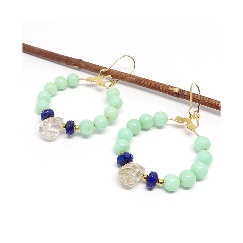 Chrysoprase, lapis lazuli facet et quartz rutilé