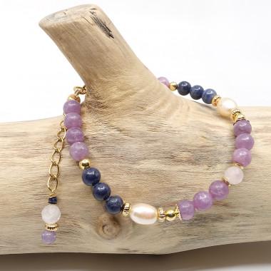 Saphir bleu, lépidolite, quartz rose et perle biwa