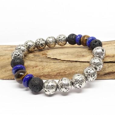Lave argentée oeil de tigre et lapis lazuli
