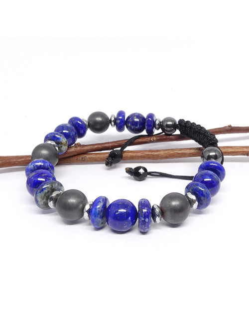 Amethyste, pierre de lune et turquoise, Bracelet extensible