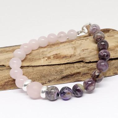 Charoïte, améthyste et quartz rose
