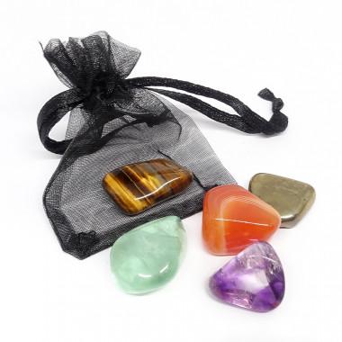 Pyrite, Oeil De Tigre, Cornaline, Fluorite