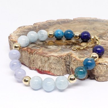 Lapis Lazuli, aigue-marine, apatite et calcédoine