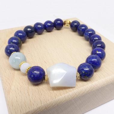 Lapis lazuli, calcédoine et aigue-marine