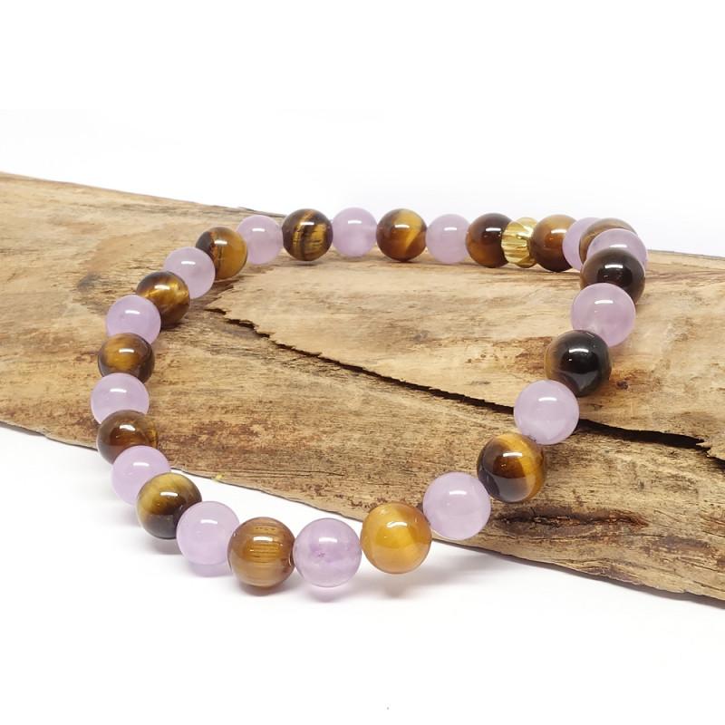 Trouver la paix intérieure - Angélite et quartz rose, bracelet harmony