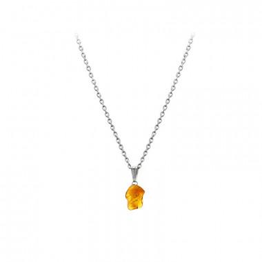Pendentif ambre sur chaîne