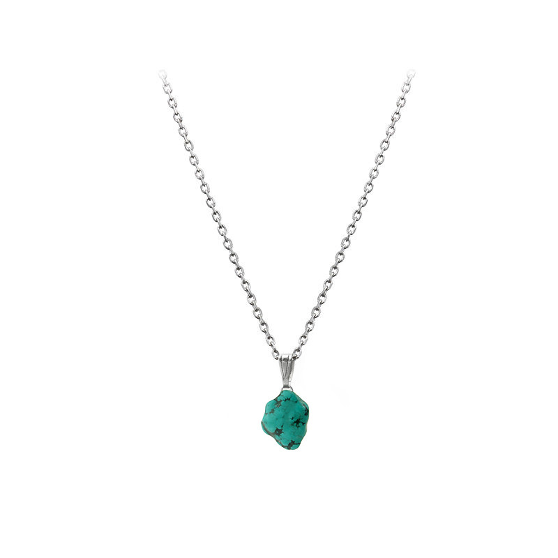 Véritable turquoise montée en pendentif sur chaîne