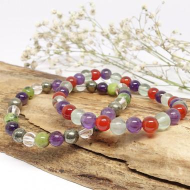 Jade, améthyste, pyrite et cristal de roche