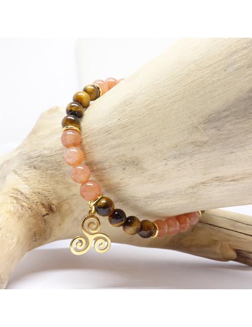 Bracelet création Grenat avec plaqué or