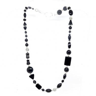 Onyx et quartz tourmaline, long collier